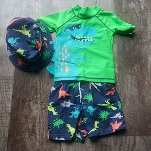 Carter's 2T Dino Swim Trunks & Rashguard w/ Hat